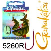 Gamakatsu Barschhaken 5260R gebunden Gr.6 0,22mm 50cm 10 Stück Farbe Rot