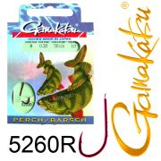 Gamakatsu Barschhaken 5260R gebunden Gr.8 0,20mm 50cm 10 Stück Farbe Rot