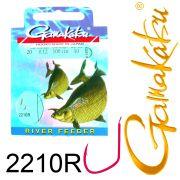 Gamakatsu Fluss Feeder Brassenhaken 2210R gebunden Gr.20 0,12mm 100cm 10 Stück Farbe Rot