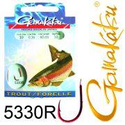 Gamakatsu Forellenhaken 5330R gebunden Gr.10 0,16mm 60cm 10 Stück Farbe Rot
