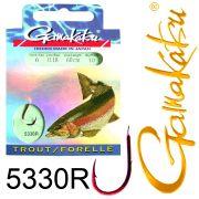 Gamakatsu Forellenhaken 5330R gebunden Gr.6 0,18mm 60cm 10 Stück Farbe Rot