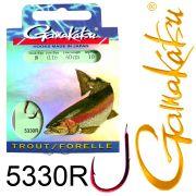 Gamakatsu Forellenhaken 5330R gebunden Gr.8 0,16mm 60cm 10 Stück Farbe Rot