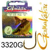 Gamakatsu Karpfenhaken 3320G gebunden Gr.10 0,22mm 75cm 10 Stück Farbe Gold