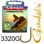 Gamakatsu Karpfenhaken 3320G gebunden Gr.6 0,26mm 75cm 10 Stück Farbe Gold