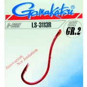 Gamakatsu LS-3113R Wurmhaken Aalhaken Gr.2 ungebunden mit Öhr 25 Stück Farbe Rot