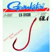 Gamakatsu LS-3113R Wurmhaken Aalhaken Gr.4 ungebunden mit Öhr 25 Stück Farbe Rot