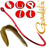 Gamakatsu LS-3113R Wurmhaken Aalhaken Gr.6 ungebunden mit Öhr 25 Stück Farbe Rot
