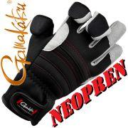 Gamakatsu Neopren Angelhandschuh Farbe Schwarz Grau Größe L mit gummierten Handflächen & geschlitzten Fingern!