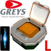 Greys Prodigy Klip-Lok Flip Top Lid Köderbox Größe L Wurm- und Madenbox 1,96 Liter Volumen ideal für lebende Angelköder