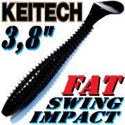 Keitech Fat Swing Impact 3,8 Gummifisch 9 cm Black 6 Stück im Set gesalzen & aromatisiert