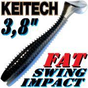 Keitech Fat Swing Impact 3,8 Gummifisch 9 cm Black Shiner 6 Stück im Set gesalzen & aromatisiert