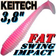 Keitech Fat Swing Impact 3,8 Gummifisch 9 cm Bubblegum Shad 6 Stück im Set gesalzen & aromatisiert
