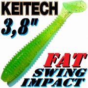 Keitech Fat Swing Impact 3,8 Gummifisch 9cm Lime Chartreuse 6 Stück gesalzen & aromatisiert