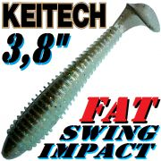 Keitech Fat Swing Impact 3,8 Gummifisch 9cm Rainbow Shad 6 Stück gesalzen & aromatisiert