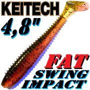 Keitech Fat Swing Impact 4,8 Gummifisch Green Pumpkin Fire 5 Stück im Set gesalzen & aromatisiert!