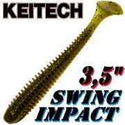 Keitech Swing Impact 3,5 Gummifisch 8,5cm Green Pumpkin PP. 8 Stück
