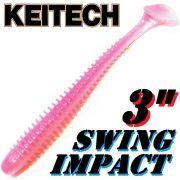 Keitech Swing Impact 3 Gummifisch 7,5cm Bubblegum 10 Stück