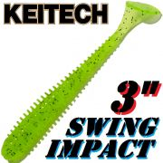 Keitech Swing Impact 3 Gummifisch 7,5cm Chartreuse PP. 10 Stück