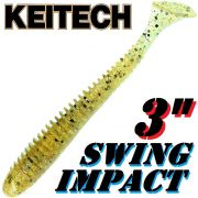 Keitech Swing Impact 3 Gummifisch 7,5cm Gold Shad # 321 - 10 Stück