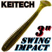Keitech Swing Impact 3 Gummifisch 7,5cm Green Pumpkin PP. 10 Stück