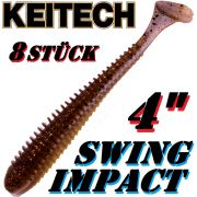 Keitech Swing Impact 4 Gummifisch 10cm Gold Flash Minnow 8 Stück