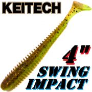 Keitech Swing Impact 4 Gummifisch 10cm Green Pumpkin Chartreuse 8 Stück
