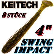 Keitech Swing Impact 4 Gummifisch 10cm Green Pumpkin PP. 8 Stück