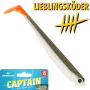 Lieblingsköder 6 Gummifisch 15cm Farbe Captain Zander & Hechtköder ideal für trübes Wasser & Sonne