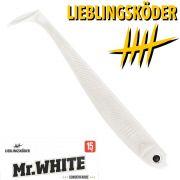 Lieblingsköder 6 Gummifisch 15cm Farbe Mr. White Zander & Hechtköder ideal für trübes Wasser & Dämmerung