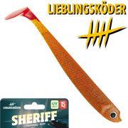 Lieblingsköder 6 Gummifisch 15cm Farbe Sheriff Zander & Hechtköder ideal für Dämmerung & Nacht