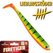 Lieblingsköder 6 Gummifisch 15cm Farbe Firetiger Zander & Hechtköder ideal für aggressive Räuber