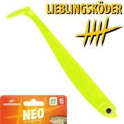 Lieblingsköder 6 Gummifisch 15cm Farbe Neo Zander & Hechtköder ideal für trübes Wasser & Wolken