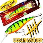 Lieblingsköder - Hybrida Wobbler Firetiger 90mm 15g Floating UV-aktiv Tautiefe bis 3m made in Germany!