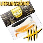 Lieblingsköder Shad 4 Gummifisch Set Gold Edition 10cm 4 Farben a 1 Stück = 4 Stück im Set
