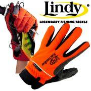 Lindy Fischlandehandschuh Links Hand Gr. L - XL Farbe Orange Schwarz