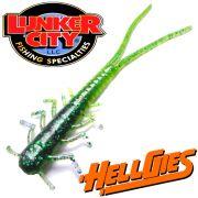Lunker City HellGies  Hellgie Gummiköder 5 ca. 12,5cm June Bug Lime Belly DS - Köder Kreatur Larve 15 Stück im Set