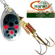 Mapso Spinner Reder Größe 1 Gewicht 3,5g Farbe Silber mit Punkten Spinnköder 1 Stück