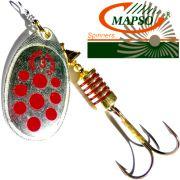 Mapso Spinner Reder Größe 1 Gewicht 3,5g Farbe Silber mit roten Punkten Spinnköder 1 Stück
