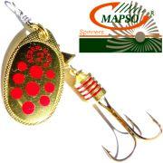 Mapso Spinner Reder Größe 2 Gewicht 4,5g Farbe Gold mit roten Punkten Spinnköder 1 Stück