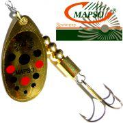 Mapso Spinner Reder Größe 4 Gewicht 9,5g Farbe Gold mit Punkten Spinnköder 1 Stück