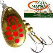 Mapso Spinner Reder Größe 4 Gewicht 9,5g Farbe Gold mit roten Punkten Spinnköder 1 Stück