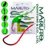 Maruto Aalhaken gebunden mit Haken in Größe 8 0,25mm 6,2kg 70cm 10 Stück im Set