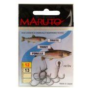 Maruto Forellenhaken ungebunden mit Öse Gr.12 13 Stück Farbe Gunsmoke