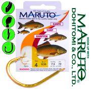 Maruto Karpfenhaken Gr.4 0,30mm gebunden 7,9kg 70cm 10 Stück für Mais & Teig Farbe Gold