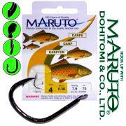 Maruto Karpfenhaken Gr.4 0,30mm gebunden 7,9kg 70cm 10 Stück für Mais & Teig Farbe Schwarz