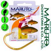 Maruto Karpfenhaken Gr.1 0,35mm gebunden 11kg 70cm 6 Stück für Mais & Teig Farbe Gold