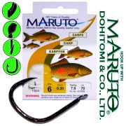 Maruto Karpfenhaken Gr.8 0,25mm gebunden 6,2kg 70cm 10 Stück für Mais & Teig Farbe Schwarz