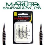 Maruto Razor Point Semi Barbless SB-36 Drillinge Schonhaken Gr.6 / 8 Stück Farbe Gunsmoke