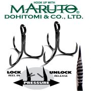 Maruto Razor Point Semi Barbless SB-36 Drillinge Schonhaken Gr.8 / 8 Stück Farbe Gunsmoke