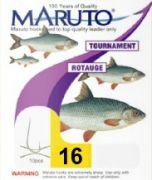 Maruto Tournament Rotaugenhaken Stipphaken gebunden Gr.16 0,12mm 1,5kg 70cm 10 Stück Farbe Nickel